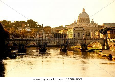 San Peter And Traian Brige At Sunset, Rome, Italy.