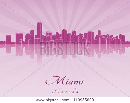 Miami Skyline In Purple Radiant Orchid