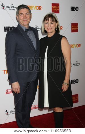 LOS ANGELES - DEC 6:  James Lecesne, Peggy Rajski at the TrevorLIVE Gala at the Hollywood Palladium on December 6, 2015 in Los Angeles, CA