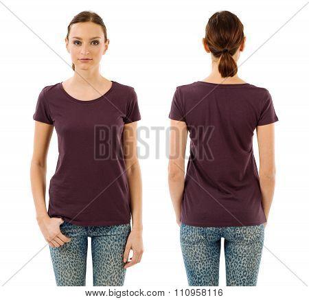 Serious Woman With Blank Dark Purple Shirt