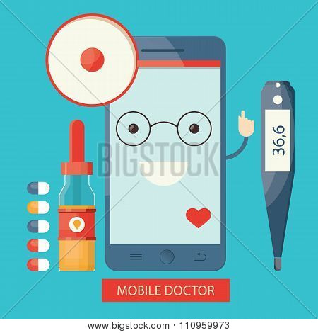Moden Illustration Of Mobile Healthcare Services,  Online Doctor