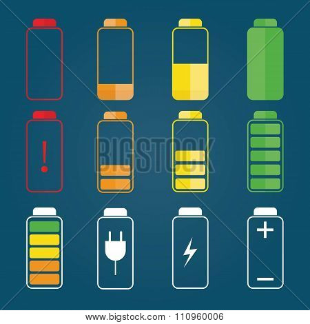Moden Vector Illustration Of Battery Indicator , Charge Symbols