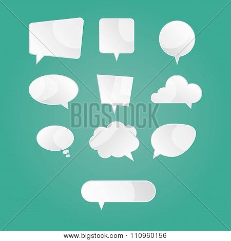 Moden Vector Illustration Of  White Speech Dialog Bubbles