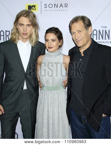 LOS ANGELES - DEC 4:  Austin Butler, Ivana Baquero, James Remar at the he Shannara Chronicles at the iPic Theaters on December 4, 2015 in Los Angeles, CA