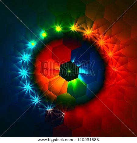 Weird colorful hexagons and shimmer. Magic dreamy style. Hex shaped geometry. Unusual glowing deco.