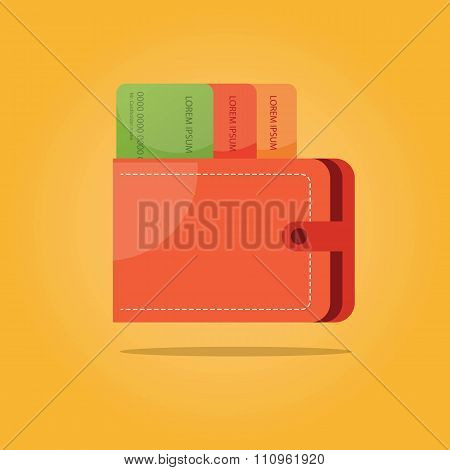 Vector Illustration Of Payment Symbols. Wallet With Credit Card