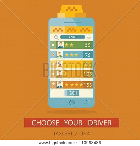 Modern Vector Illustration Of Concept Process Choosing Taxi Driver Via Mobile Application. Picture 2
