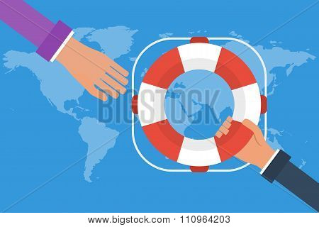 Businessman Hand Getting Lifebuoy From Another Businessman On World Map Background