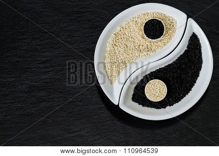 Sesame Seeds In The Form Of Yin Yang Symbol