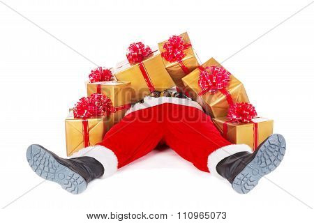 Funny Santa Claus Lying Heap Up With Christmas Gift Boxes