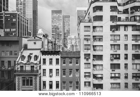 Black And White Photo Of New York Buildings, Usa