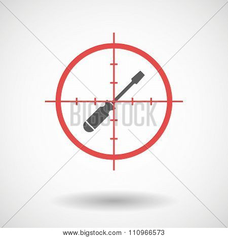 Red Crosshair Icon Targeting A Screwdriver