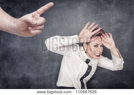 Scared Business Woman Scolded By Someone