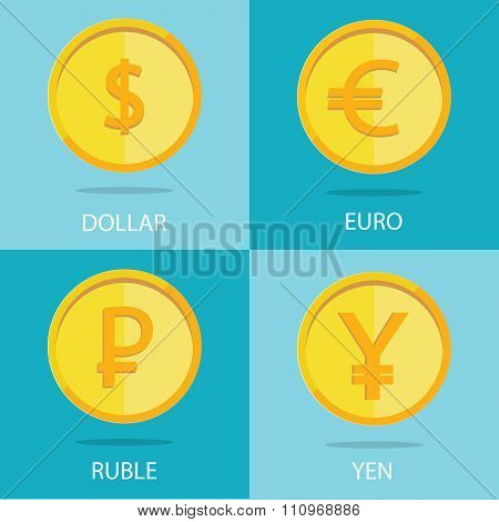 Modern Vector Set Of Gold Coins On Colorful Background, Euro, Dollar, Ruble, Yen
