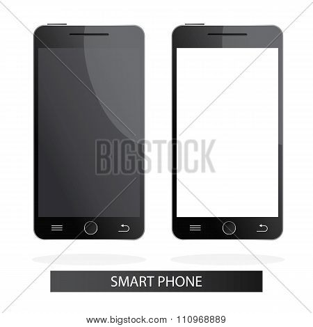 Modern Vector Illustration Of Realistic Smart Phones On White Background With Black And White Displa