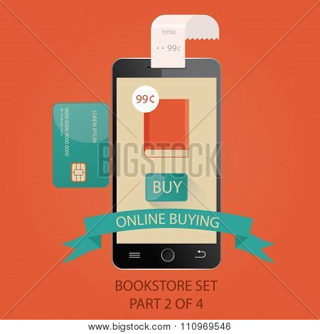 Modern Vector Illustration Of Payments By Credit Card. Online Buying.