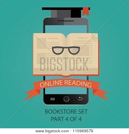Modern Vector Illustration Of Online Education. Online Reading. Picture 4 Of 4.