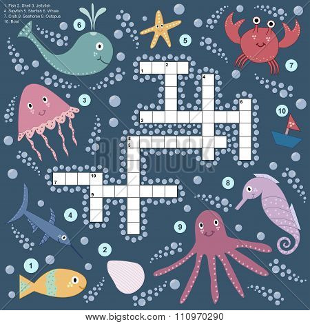 Crossword For Children About Sea Life