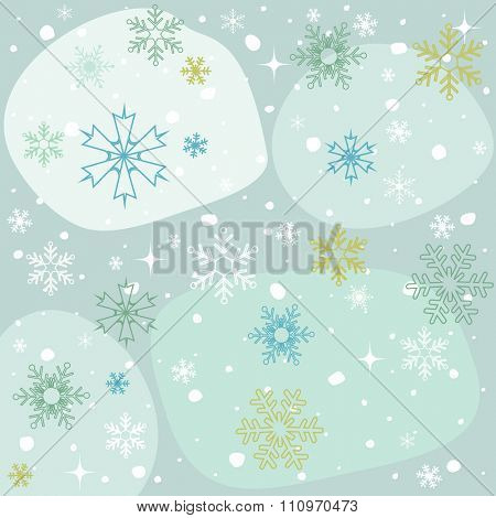 Winter snowflakes blue background