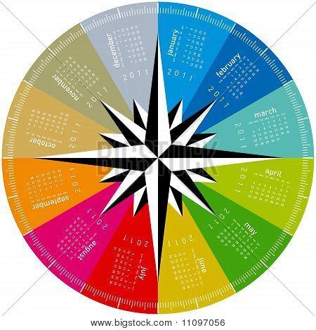 Colorful Circular Calendar 2011