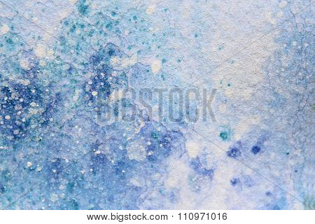 Snow Watercolor on Blue Background 7