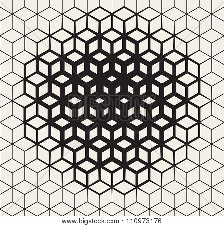 Vector Seamless Black And White  Geometric Cube Shape Lines Halftone Grid Pattern Fading Towards The