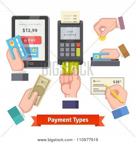 Human hands holding credit cards paying with POS