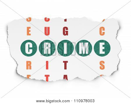 Security concept: Crime in Crossword Puzzle