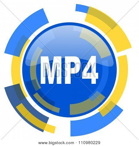 mp4 blue yellow glossy web icon
