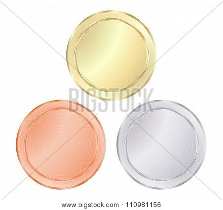 Blank Vector Templates For Coin, Price Tags, Buttons, Sewing, Buttons, Badges Or Medals Of Gold, Sil
