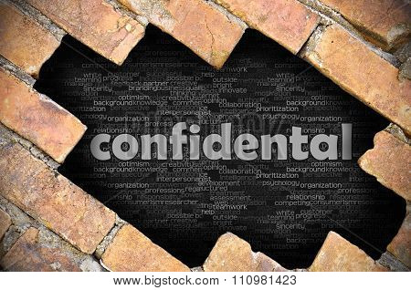 Hole In The Brick Wall With Word Confidental