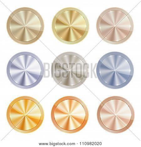 Vector Set Of Blank Centric Circles With Shiny Discs Of Gold, Red Gold, Silver, Bronze, Copper, Alum