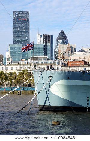 HMS Belfast, Union Jack, City of London Skyscrapers