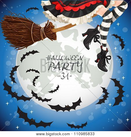 Witch Flying On A Broomstick Banner