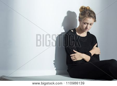 Lonely Woman With Anorexia