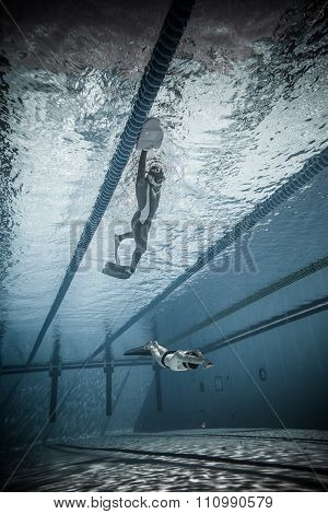 Freediver Dynamic With Monofin Performance From Underwater