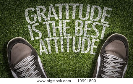 Top View of Sneakers on the grass with the text: Gratitude is the Best Attitude