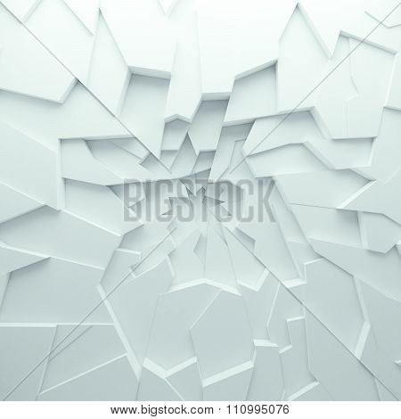 Geometric color abstract polygons wallpaper, as crack wall. Interior room, chasm, abyss. 3D Rendering