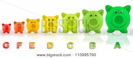 Energy efficiency label of piggy banks concept for saving money and engery