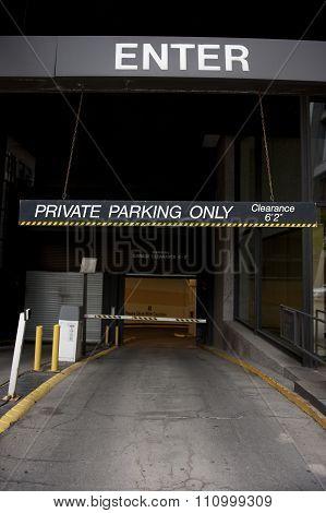 Private Parking Entrance
