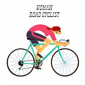 Girl racing cyclist in action. Fast road biker woman. Editable vector illustration. poster