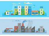 Two horizontal banners. Modern clean city. Environmental pollution. Factory polluting the city. Ecosystem. The use of alternative energy sources poster