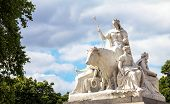 "Allegorical sculpture ""Europe"" (by Patrick MacDowell) representing continent of Asia in Prince Albert Memorial near Kensington Gardens in London. UK poster"