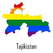 Vector rainbow map of Tajikistan in colors of LGBT - lesbian gay bisexual and transgender - pride flag. In eps format. poster
