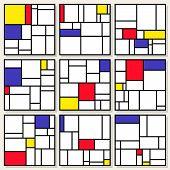 Set Of Nine Vector Square Compositions in Piet Mondrian De Stijl Style Painting Design poster