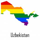 Vector rainbow map of Uzbekistan in colors of LGBT - lesbian gay bisexual and transgender - pride flag. In eps format. poster