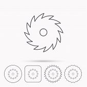 Circular saw icon. Cutting disk sign. Woodworking sawblade symbol. Linear circle, square and star buttons with icons. poster