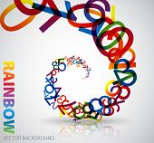 Abstract background with colorful rainbow numbers on light background poster
