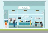 Bank building exterior and bank interior counter desk cashier consulting presenting currency exchange financial services Banking concept vector illustration. poster