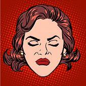 Retro Emoji anger rage woman face pop art retro style poster